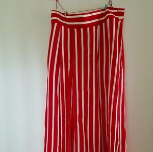 1980s Vintage Red and White Striped Maxi Skirt